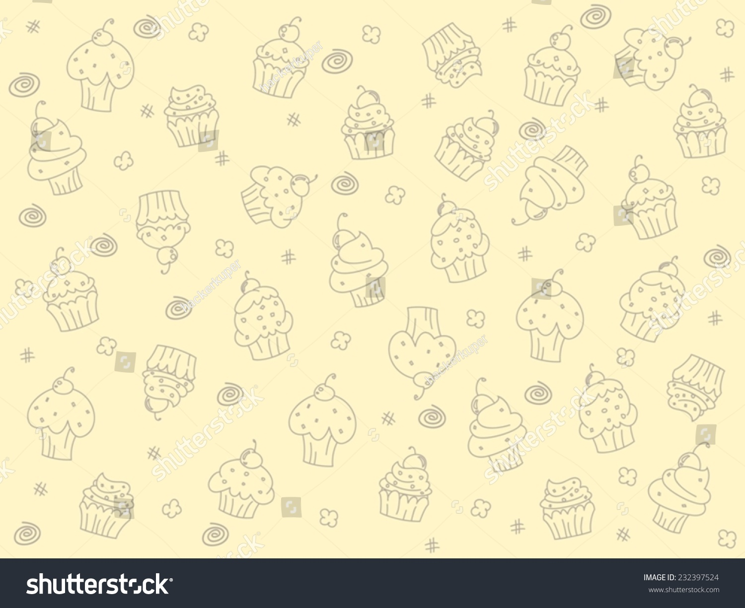 Vintage Cupcakes Outline Vector Background
