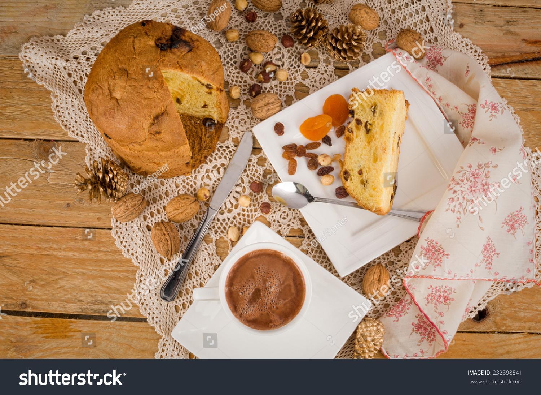 Homemade Panettone Served Hot Chocolate Italian Stock Photo Edit