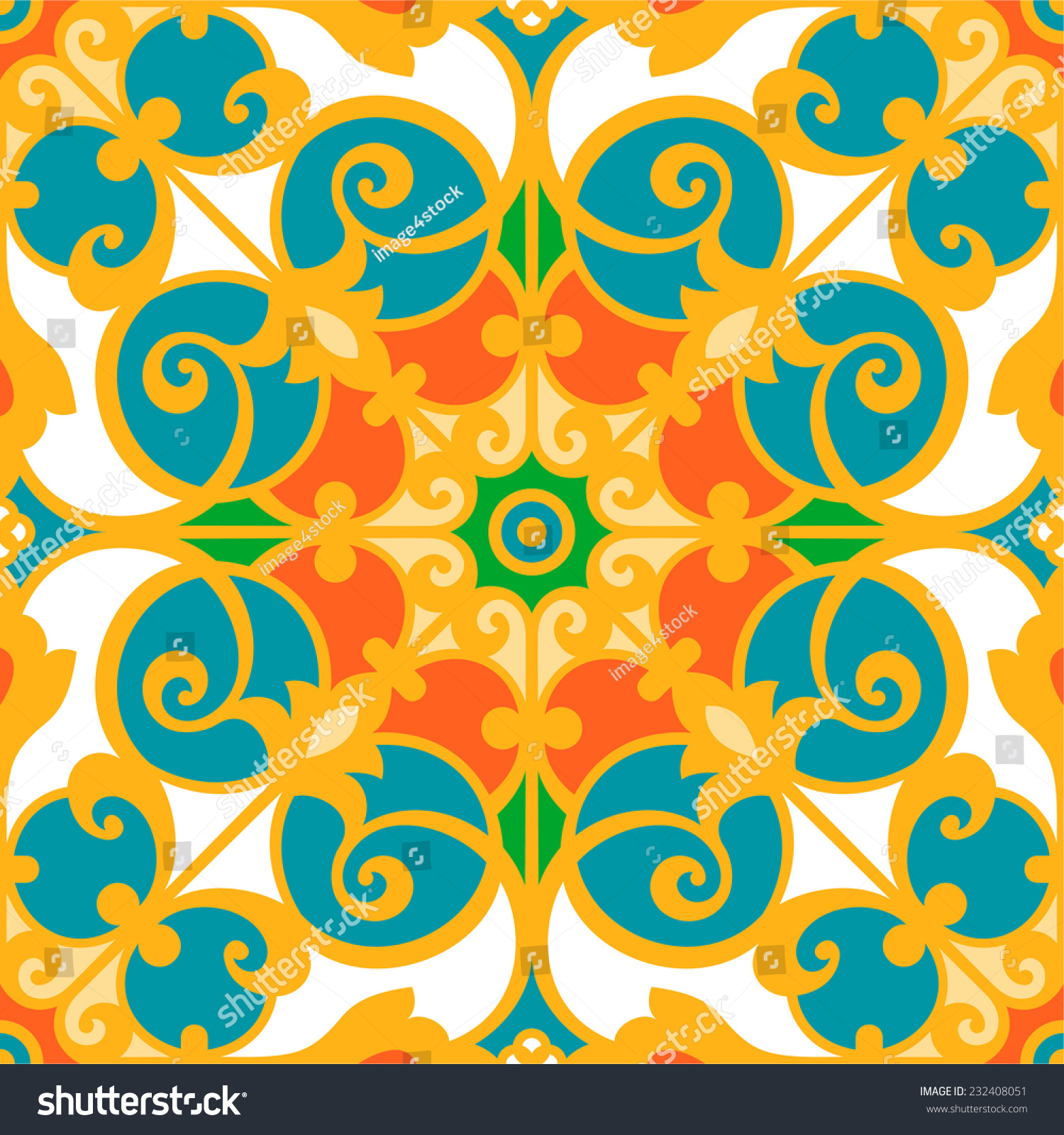 Oriental traditional floral ornament italian seamless for Window design vector