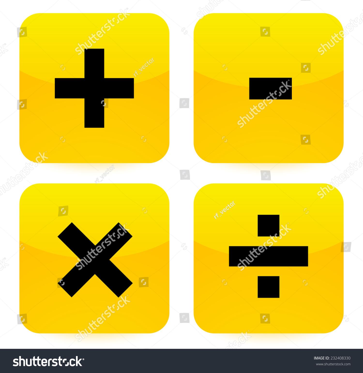 Bright Vivid Math Symbols Addition Subtraction Stock Vector Royalty
