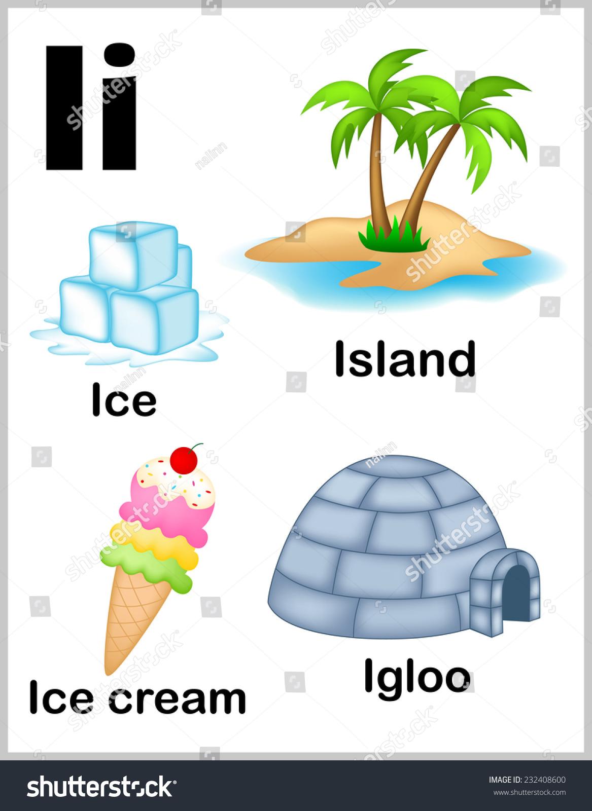 Cute Colorful Alphabet Letter Set Illustrations Stock Vector