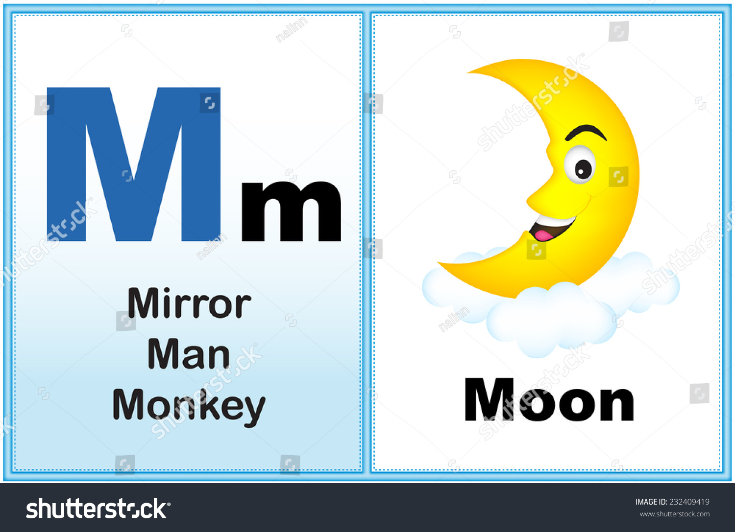 Alphabet Letter M With Clip-Art And Few Similar Words