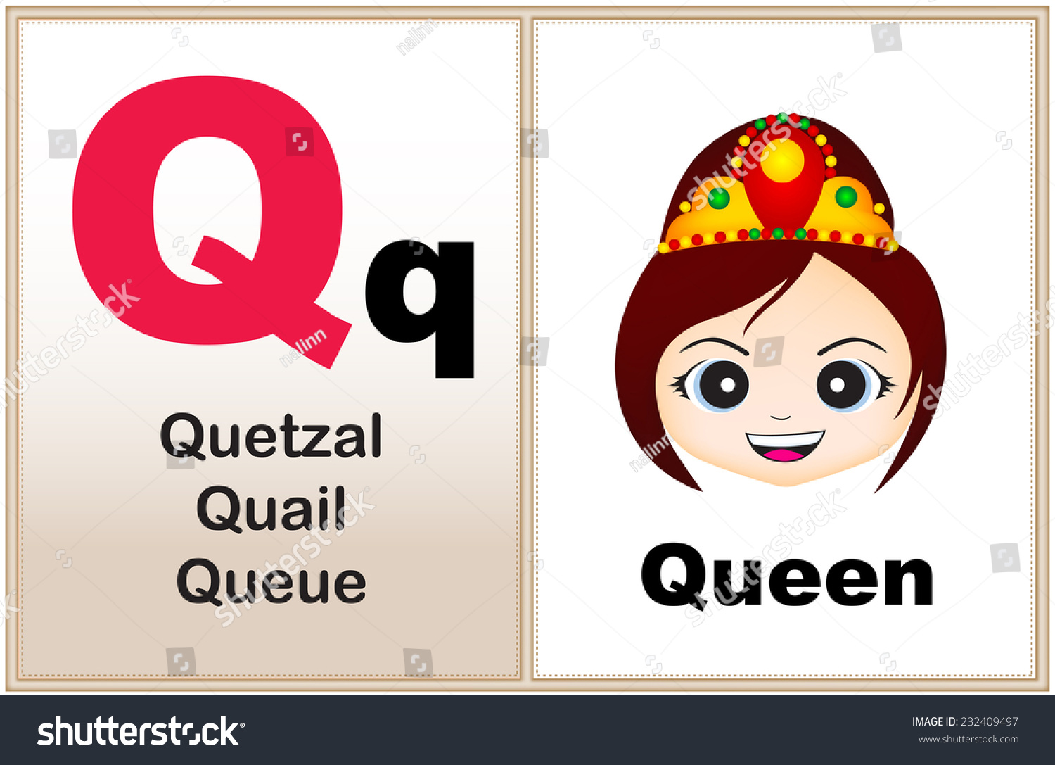 Alphabet letter q clipart few similar stock vector 232409497 alphabet letter q with clip art and few similar words starting with the letter printable robcynllc Image collections