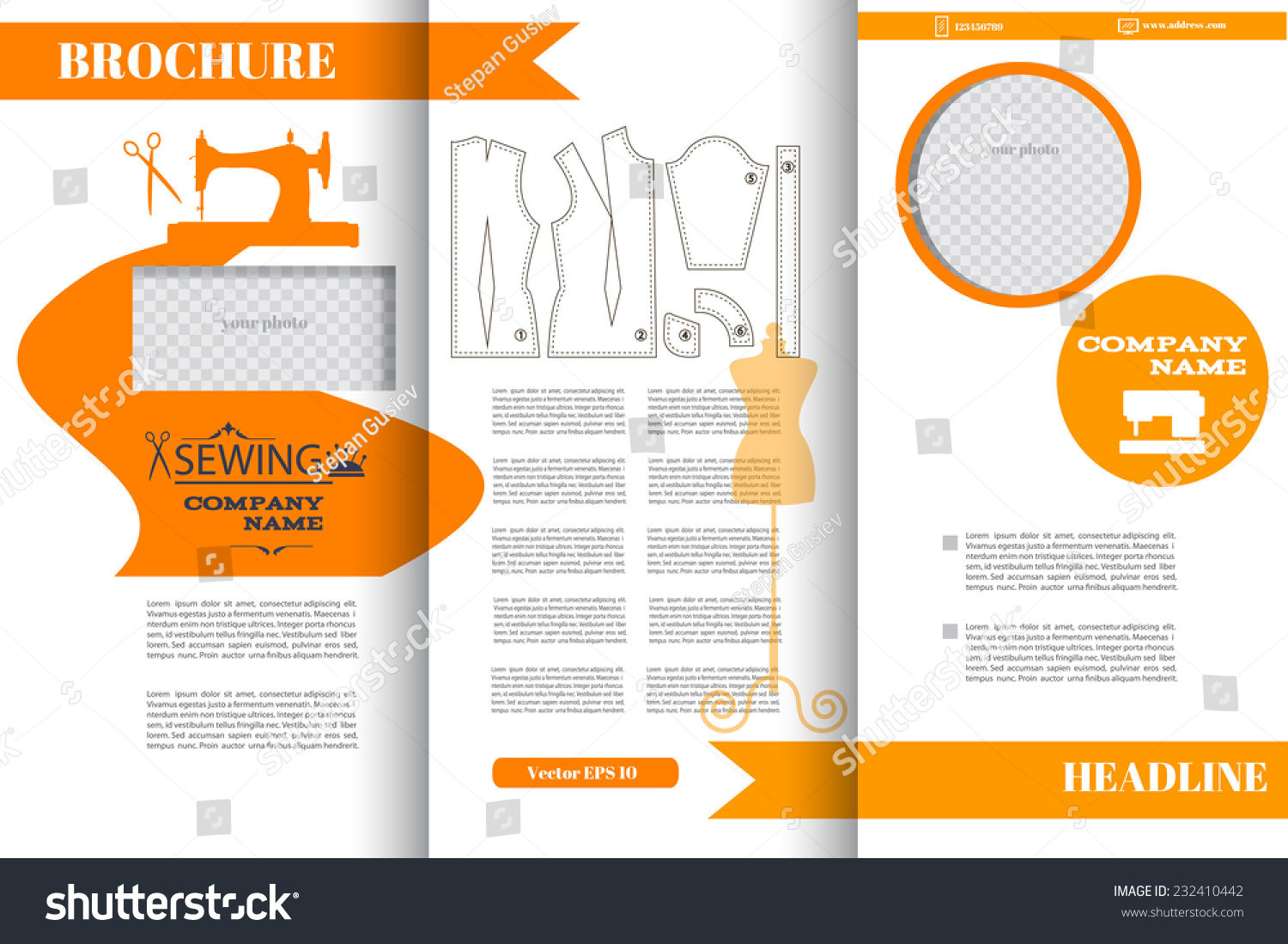 Brochure design templates fashion sewing industry stock for Fashion brochure template