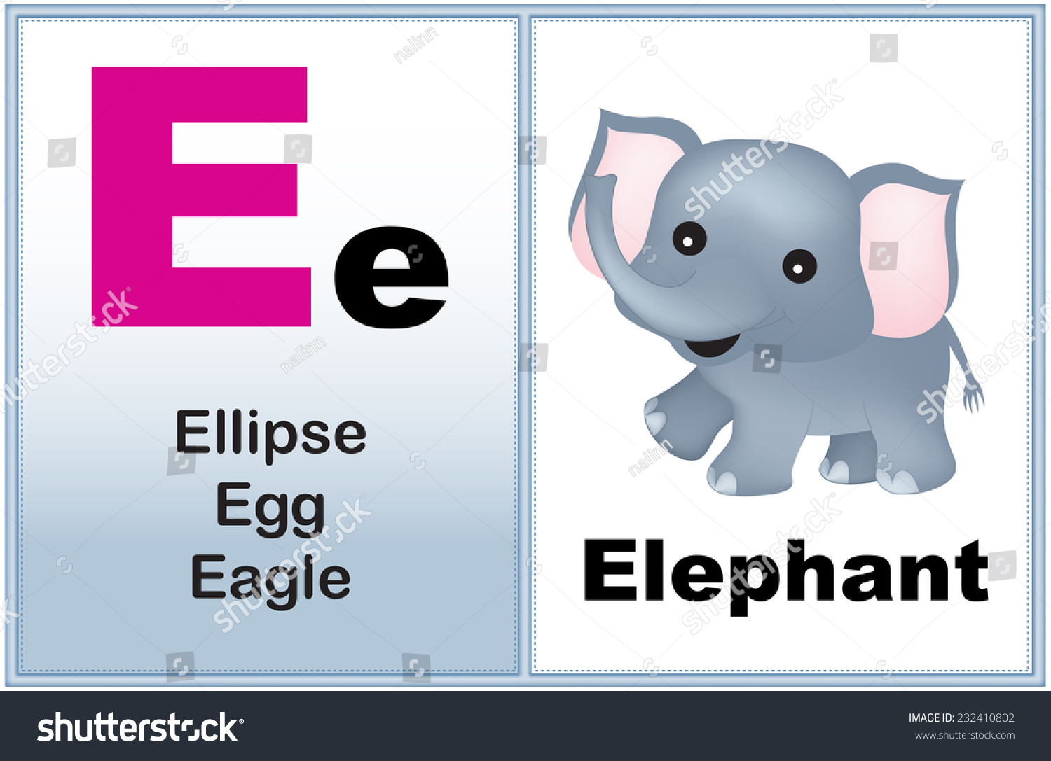Royalty Free Alphabet Letter E With Clip Art And Few 232410802