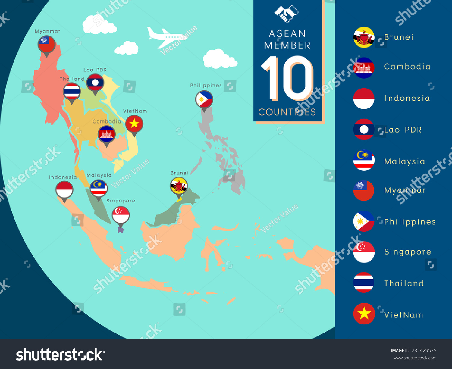 Aec asean economic community world map stock vector royalty free aec asean economic community world map illustration with country flag gumiabroncs Images
