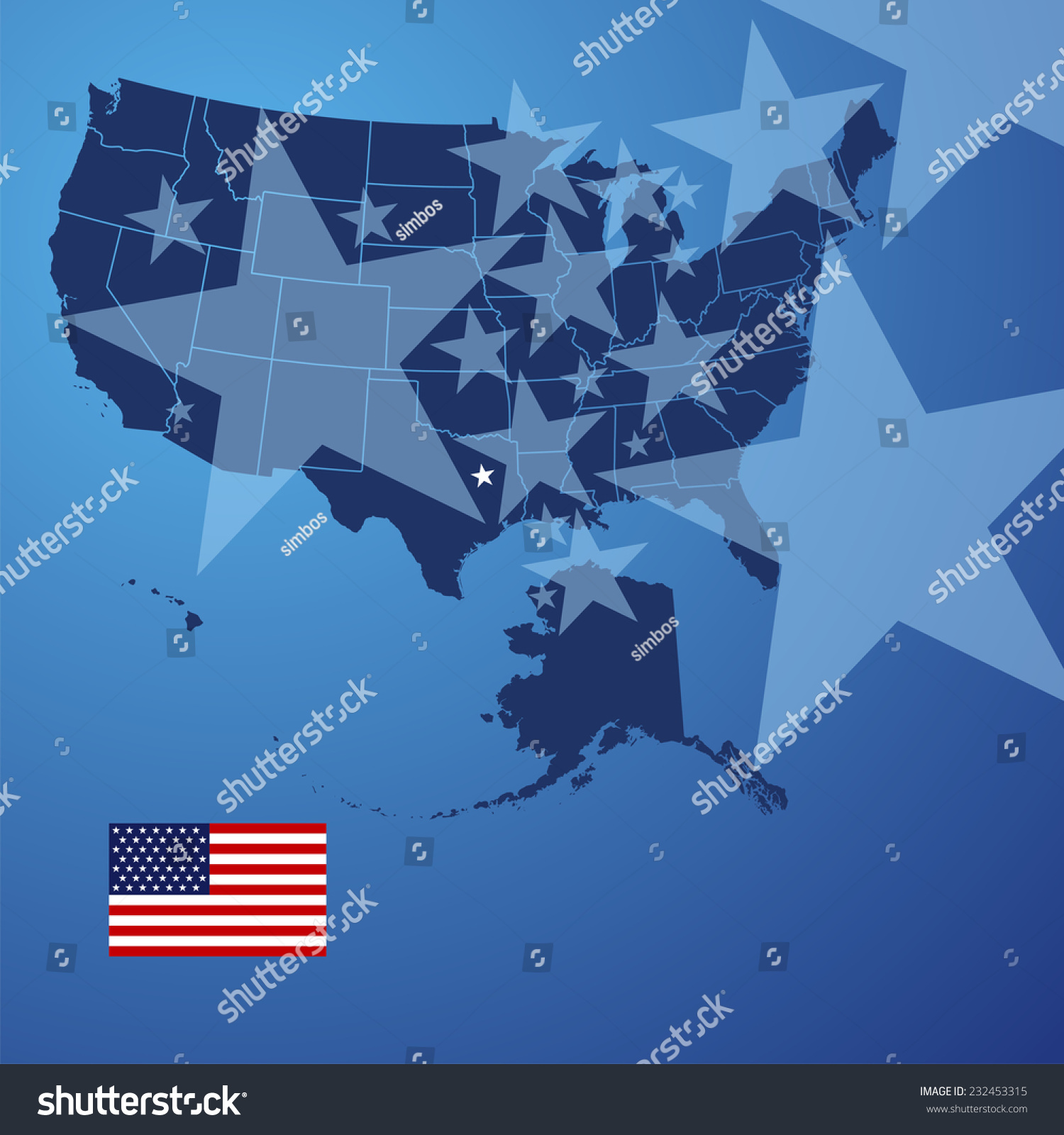Us Map Stars Cover Vector Stock Vector Shutterstock - Stars map from us