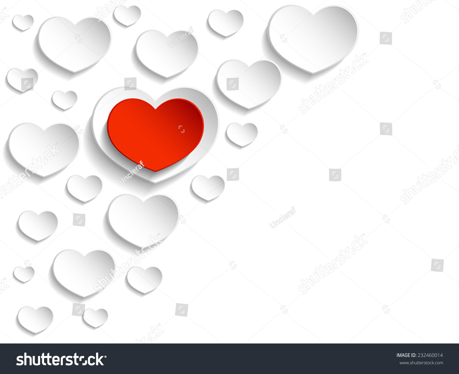 White Red Valentines Cards White Background Stock Vector Royalty