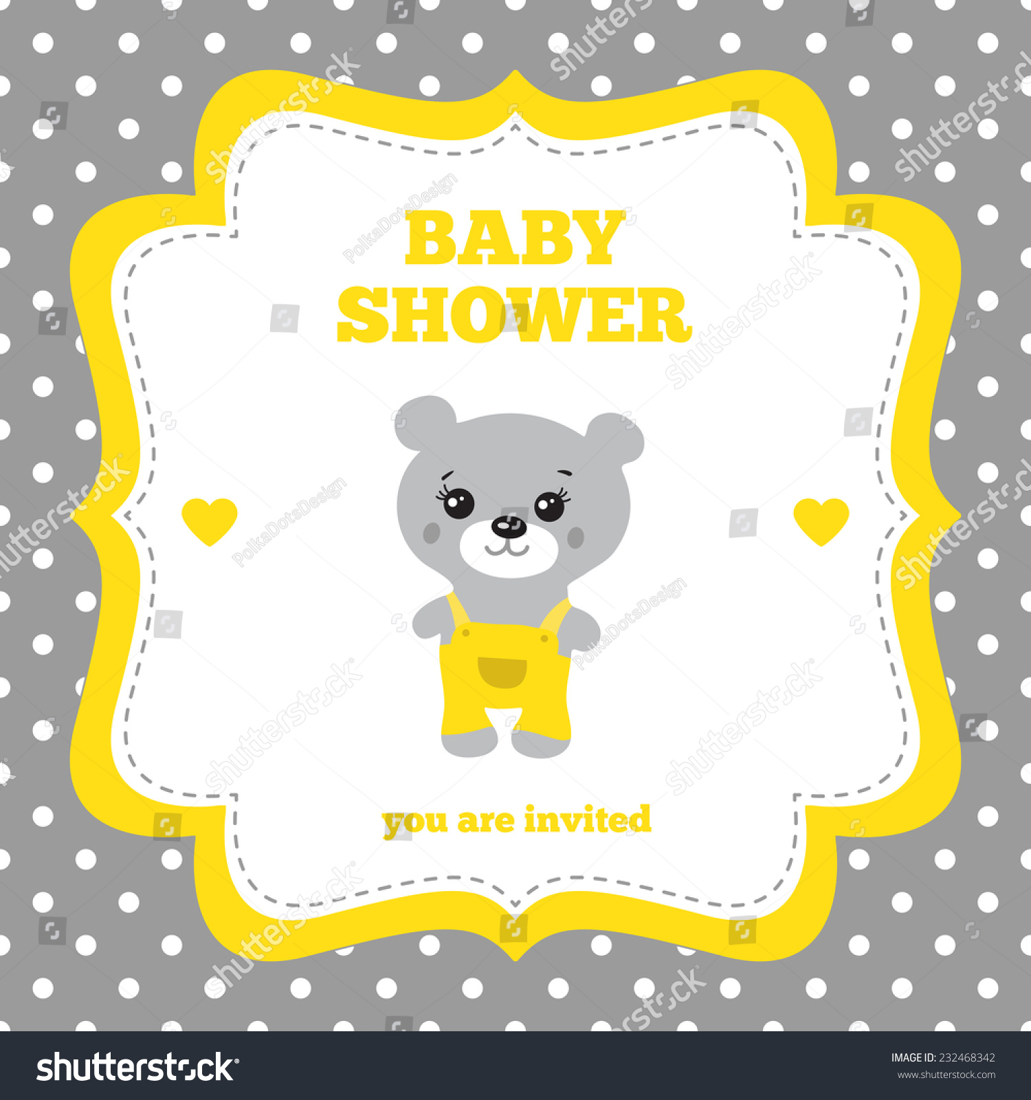 Baby Shower Invitation, Template. Gray, Yellow And White Colors.  Illustration Of Little