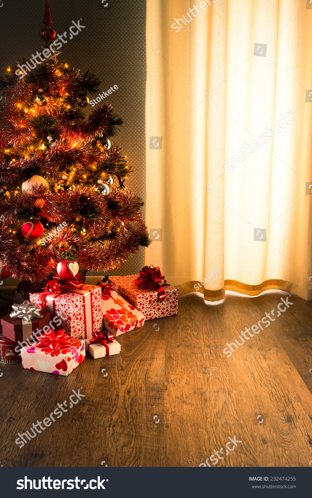 Colorful Christmas Tree Red White Gift Stock Photo Edit Now 232474255
