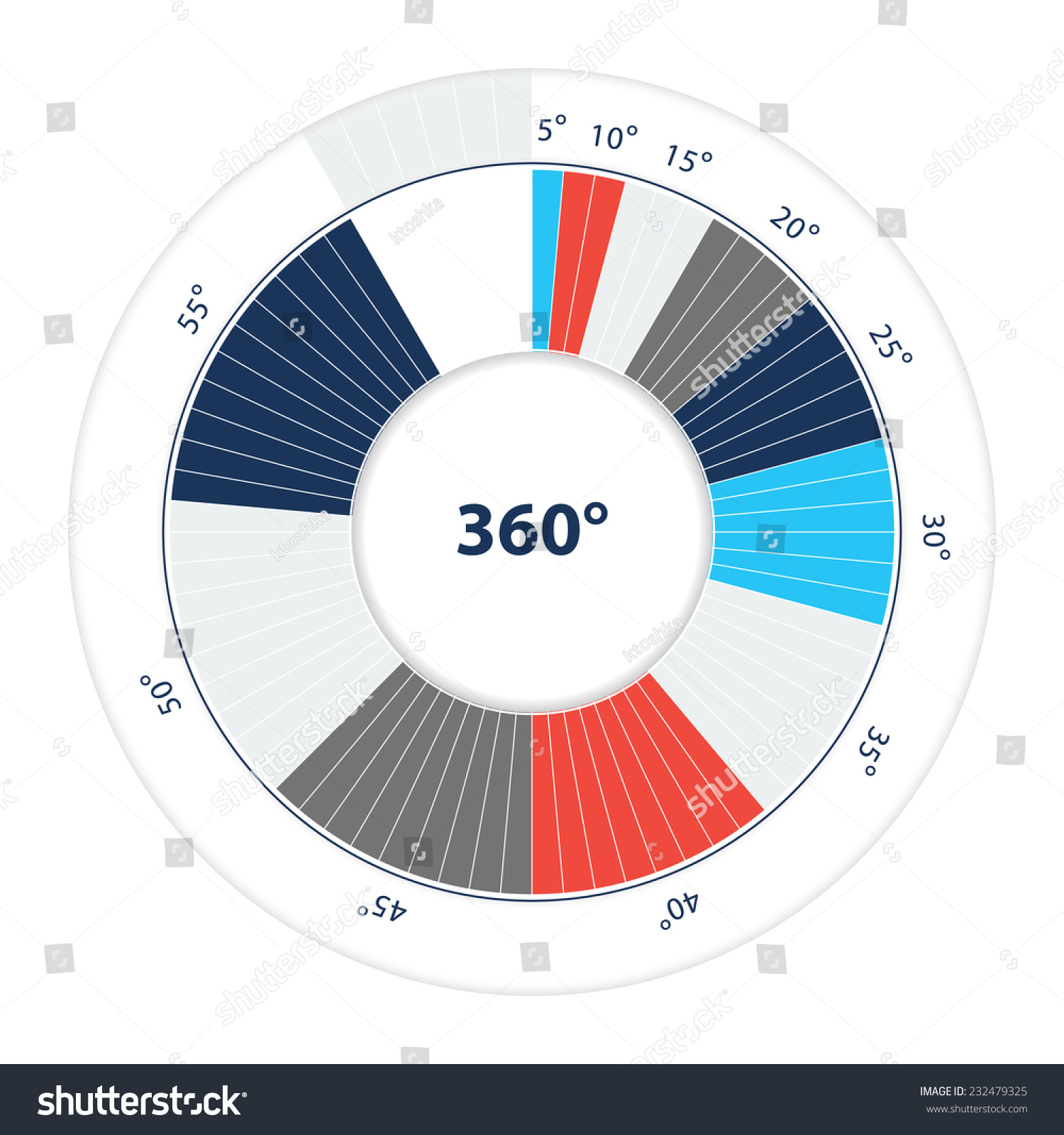 Vector pie chart template easy way stock vector 232479325 vector pie chart template easy way to divide circle the smallest angle 5 geenschuldenfo Image collections