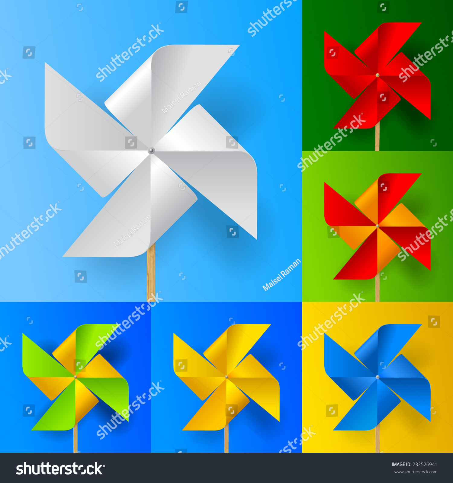 Multicolored Toy Paper Windmill Propeller Set On Backgrounds Of Different Colors Vector Illustration