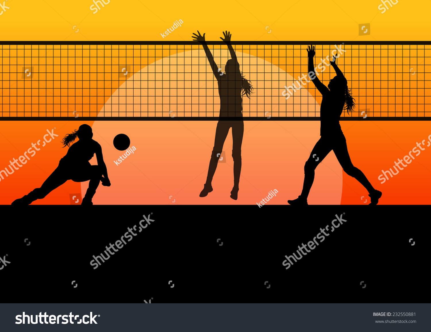 Abstract Design Of A Beach Volleyball Player Vector Image: Beach Volleyball Woman Player Vector Sunset Stock Vector
