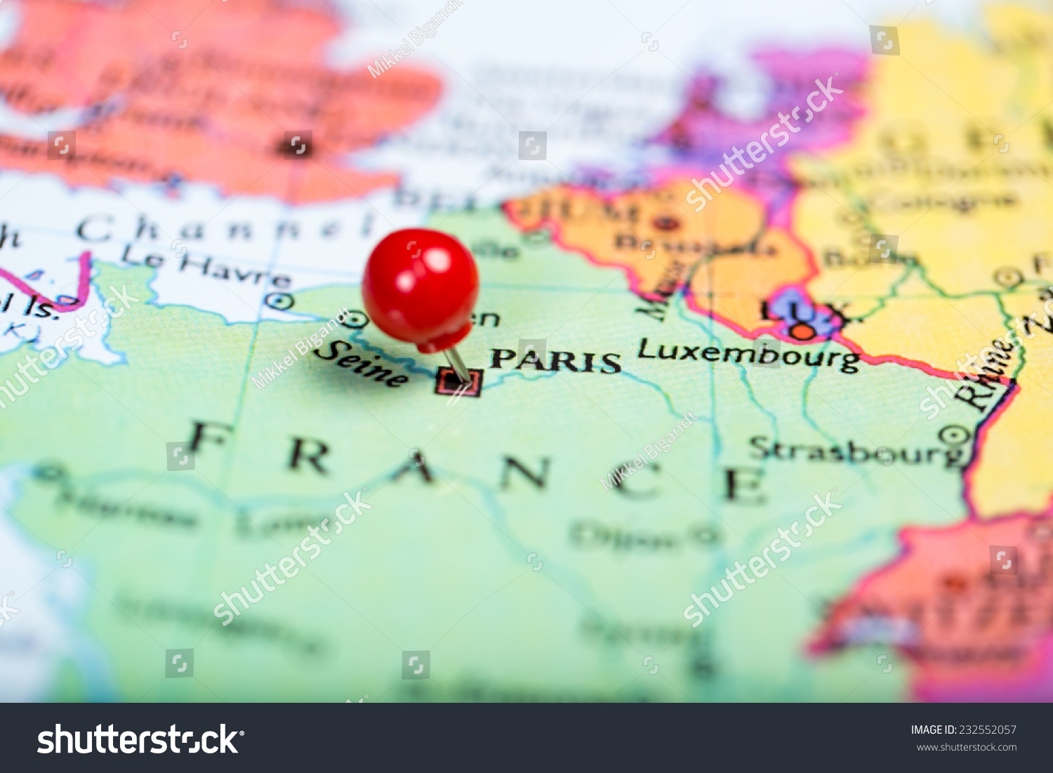 Paris Europe Map.Map Europe Round Red Push Pin Stock Photo Edit Now 232552057