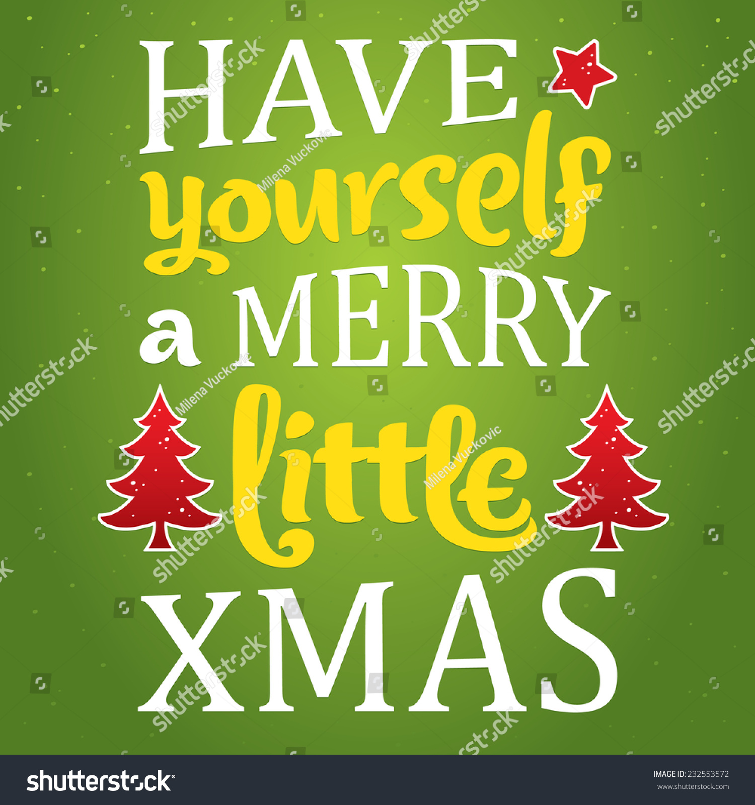 Merry Christmas Greeting Card Unique Typography Stock Vector