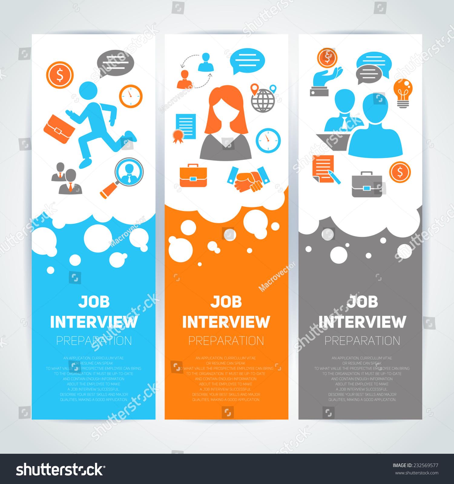 job interview preparation flat banner vertical stock vector job interview preparation flat banner vertical set recruitment meeting cv search isolated vector illustration