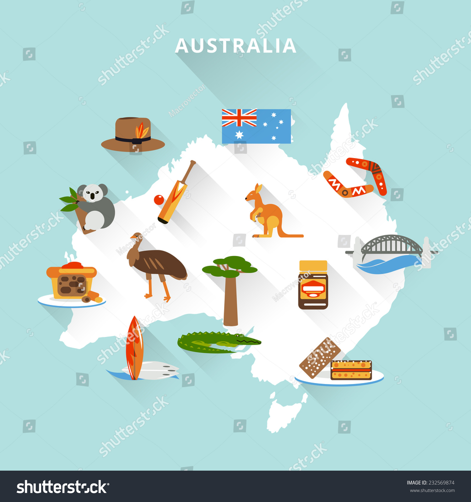 Australia Tourist Map Concept Travel Food Vector 232569874 – Travel Maps Australia