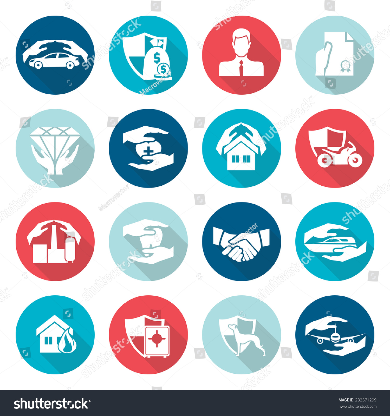 Insurance Security Icons Flat Set Medical Stock Vector Royalty Free