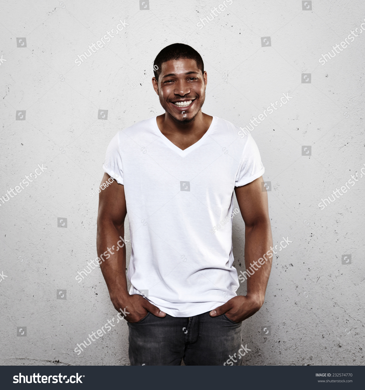 Smiling young man white tshirt stock photo 232574770 for Man in white shirt