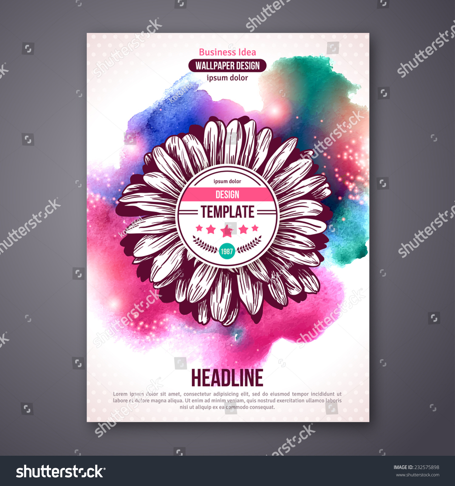 Business Poster Or Flyer Template With Watercolor Paint