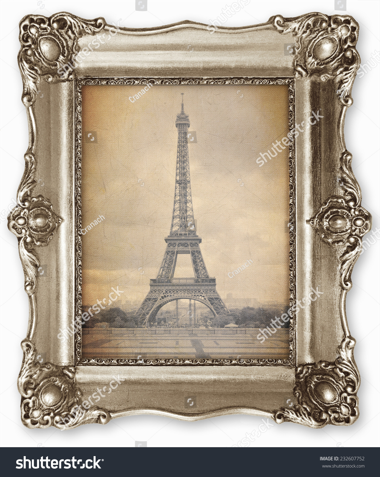 old vintage frame stylized eiffel tower stock photo 232607752 shutterstock - Eiffel Tower Picture Frame