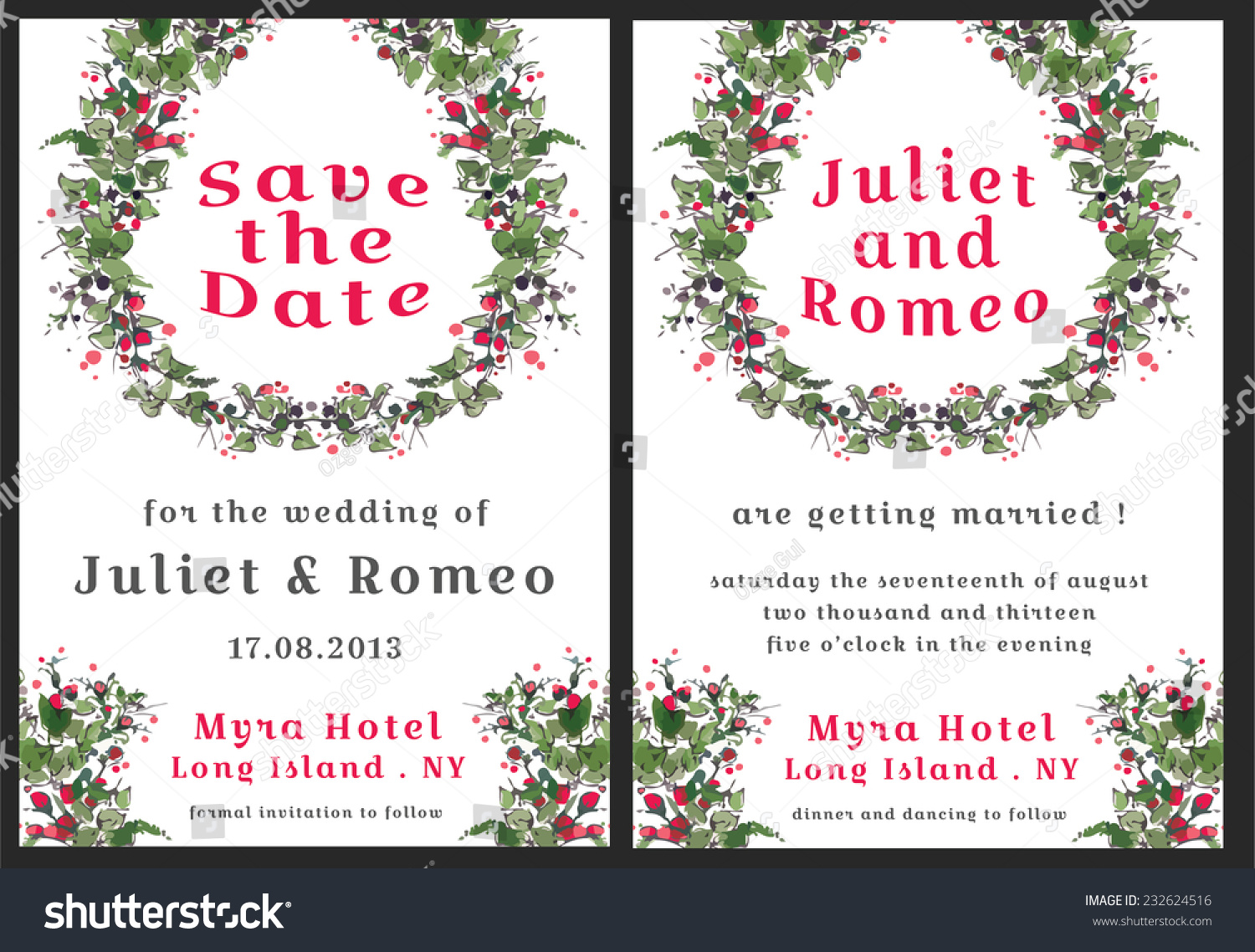 Set Floral Wedding Invitation Template Red Stock Vector 232624516 ...