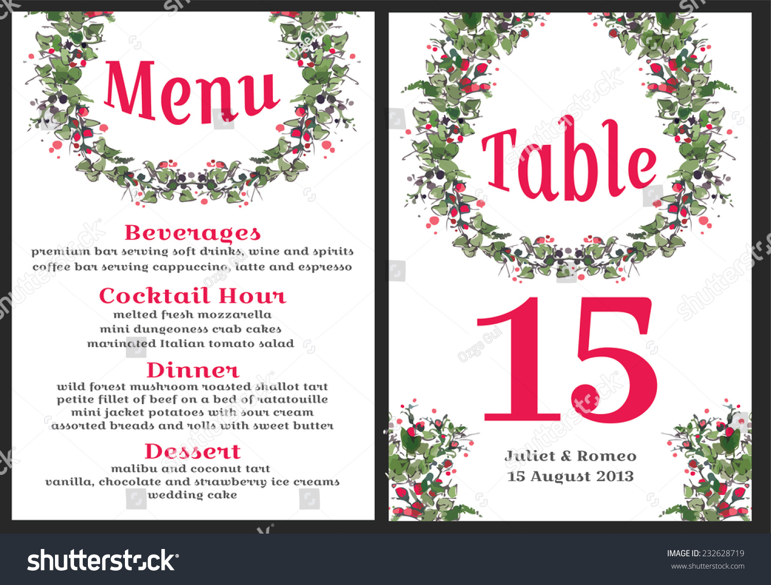 Set Floral Wedding Invitation Template Red Stock Photo (Photo ...