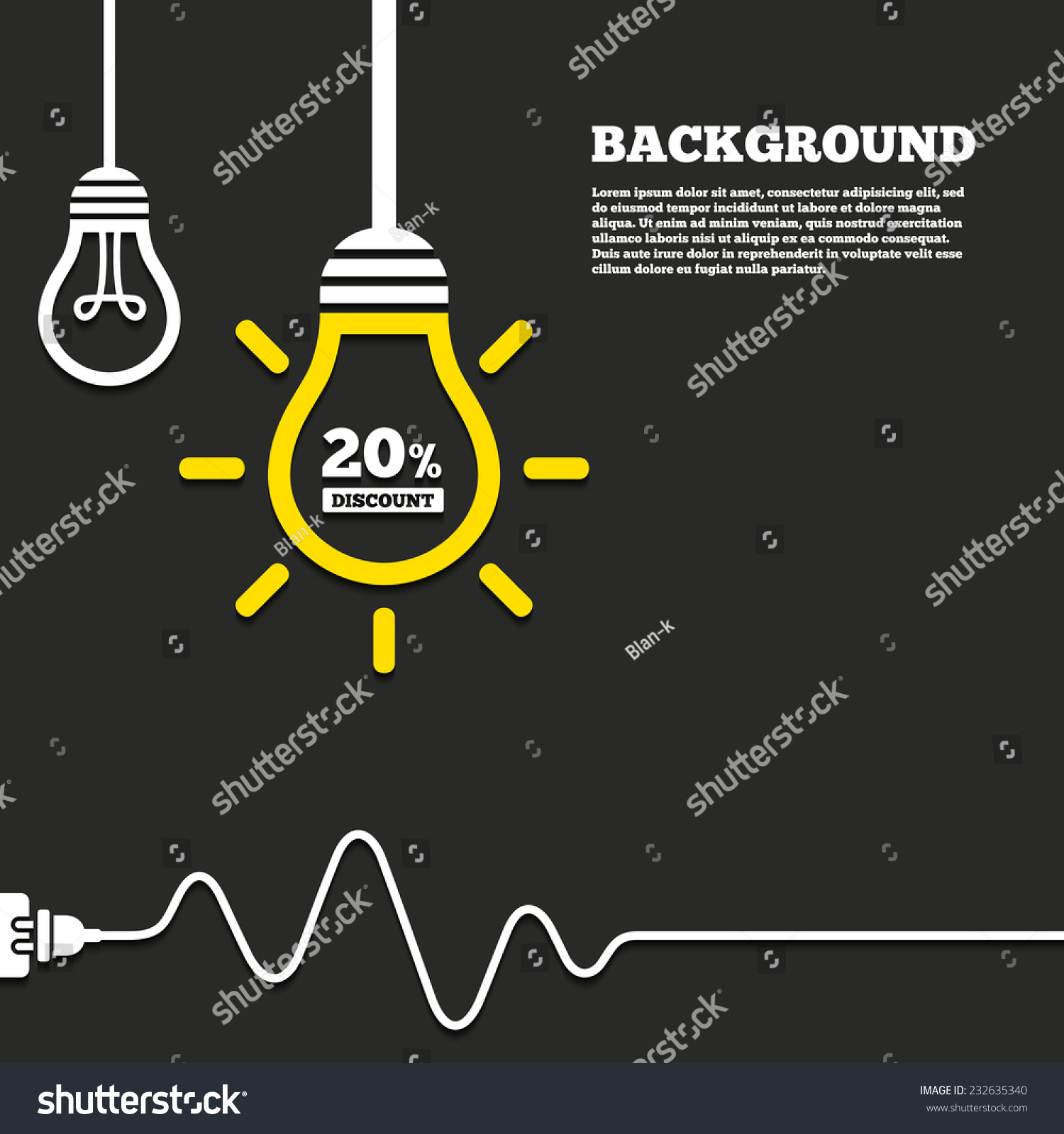 Idea lamp electric plug background 20 stock vector 232635340 idea lamp with electric plug background 20 percent discount sign icon sale symbol ccuart Image collections