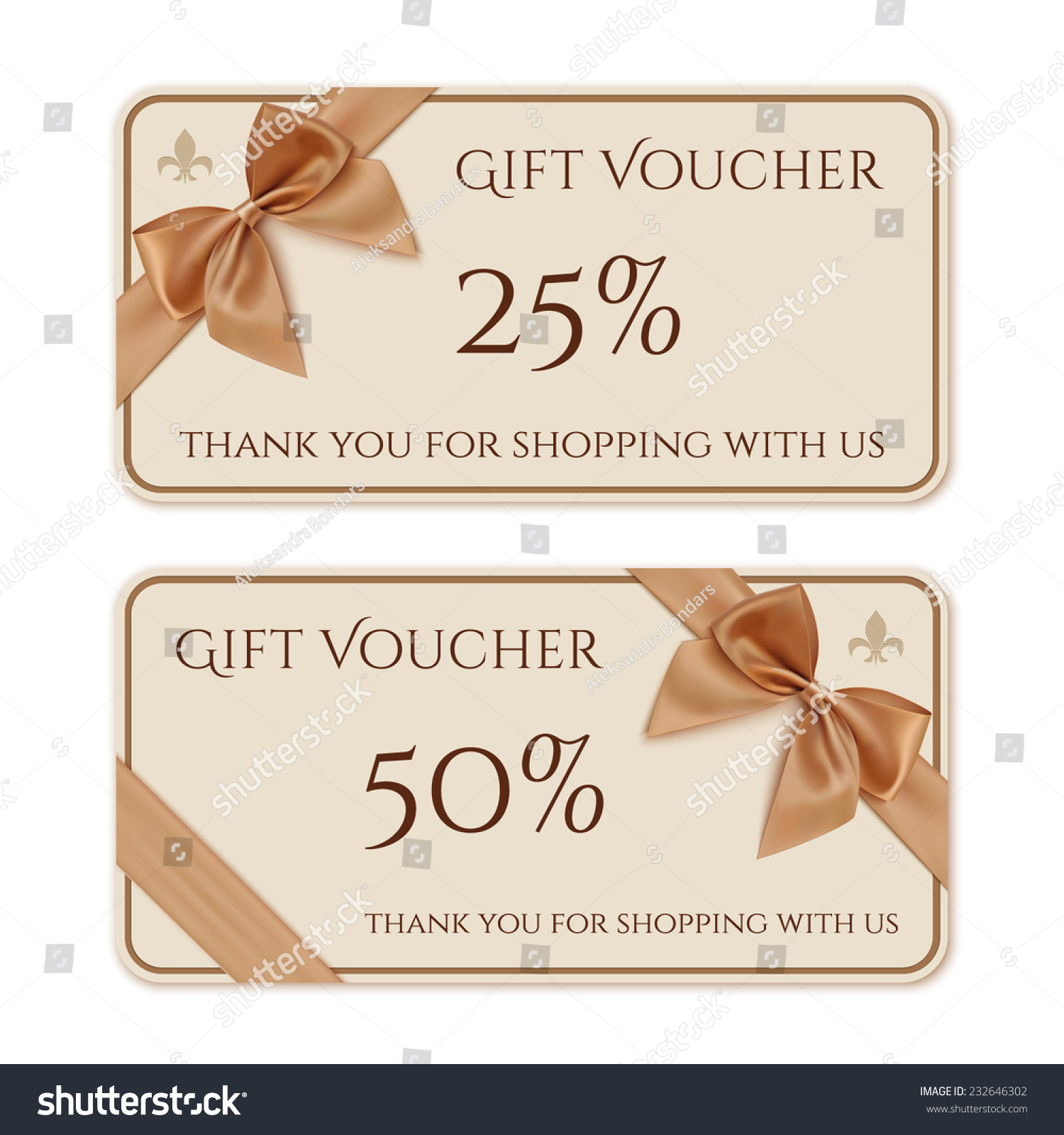 Gift Voucher Template Golden Ribbon Bow Stock Vector Royalty Free
