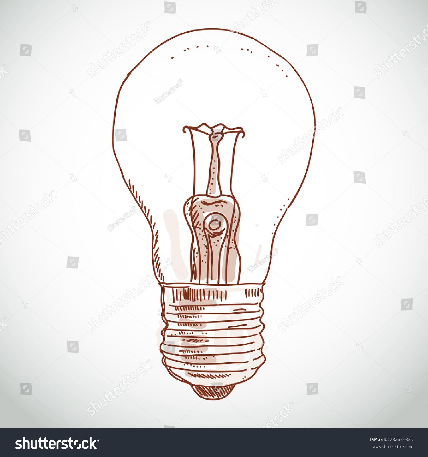 Idea Lightbulb Sketch On White Background Stock Vector (Royalty Free ...