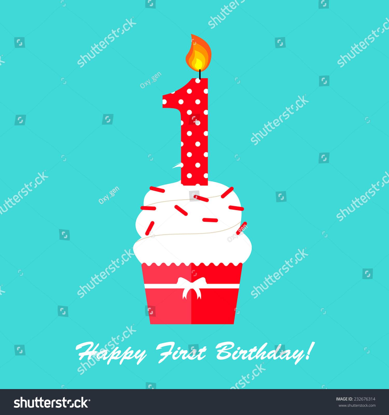 Happy first birthday anniversary card cupcake stock vector