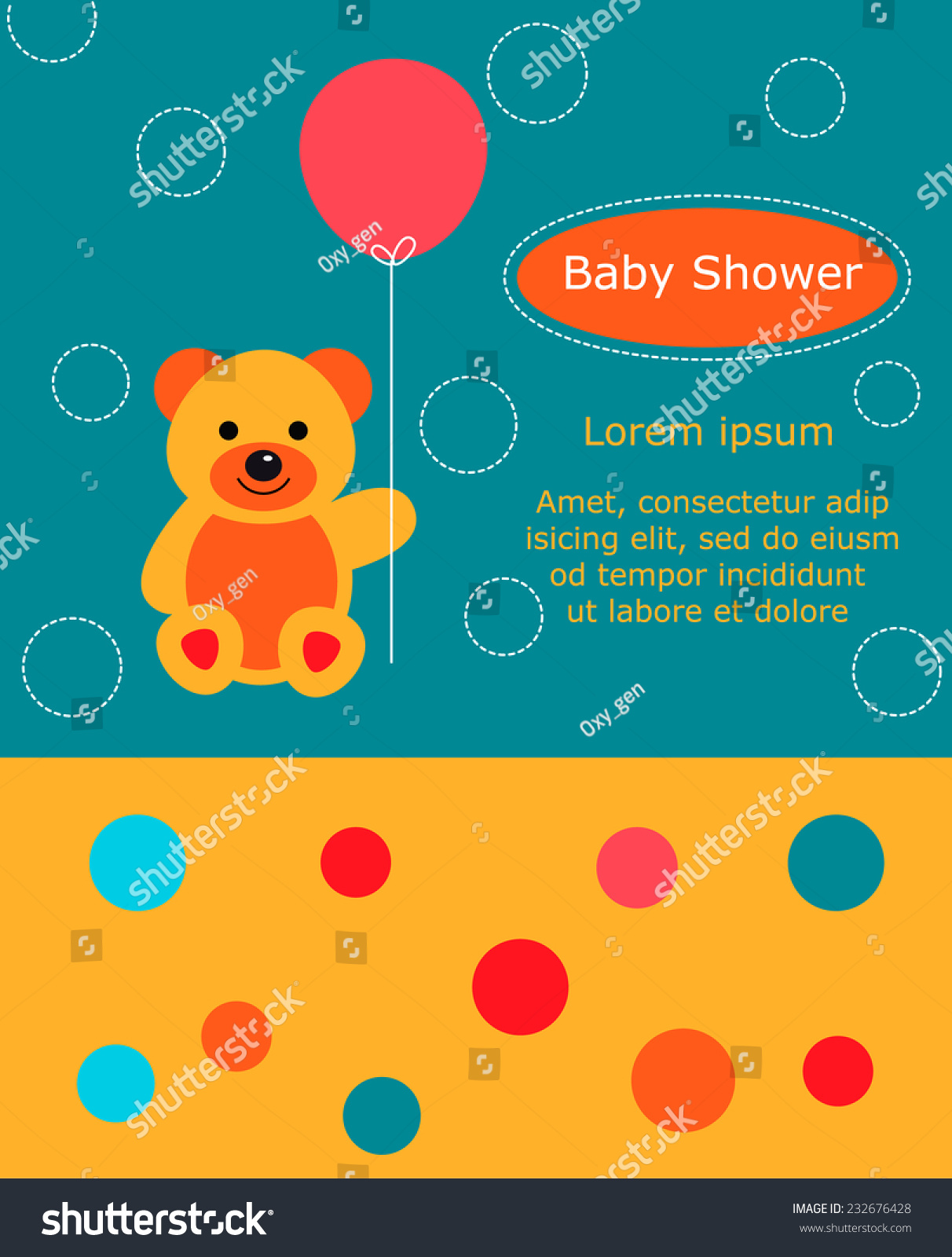 Baby Shower Invitation Card Cute Bear Stock Vector Royalty Free