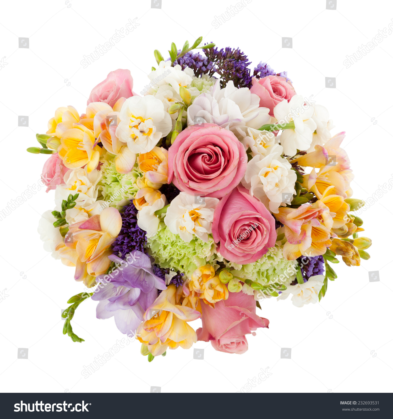 pastel colors wedding bouquet made of roses freesia carnation and limonium flowers seen from. Black Bedroom Furniture Sets. Home Design Ideas