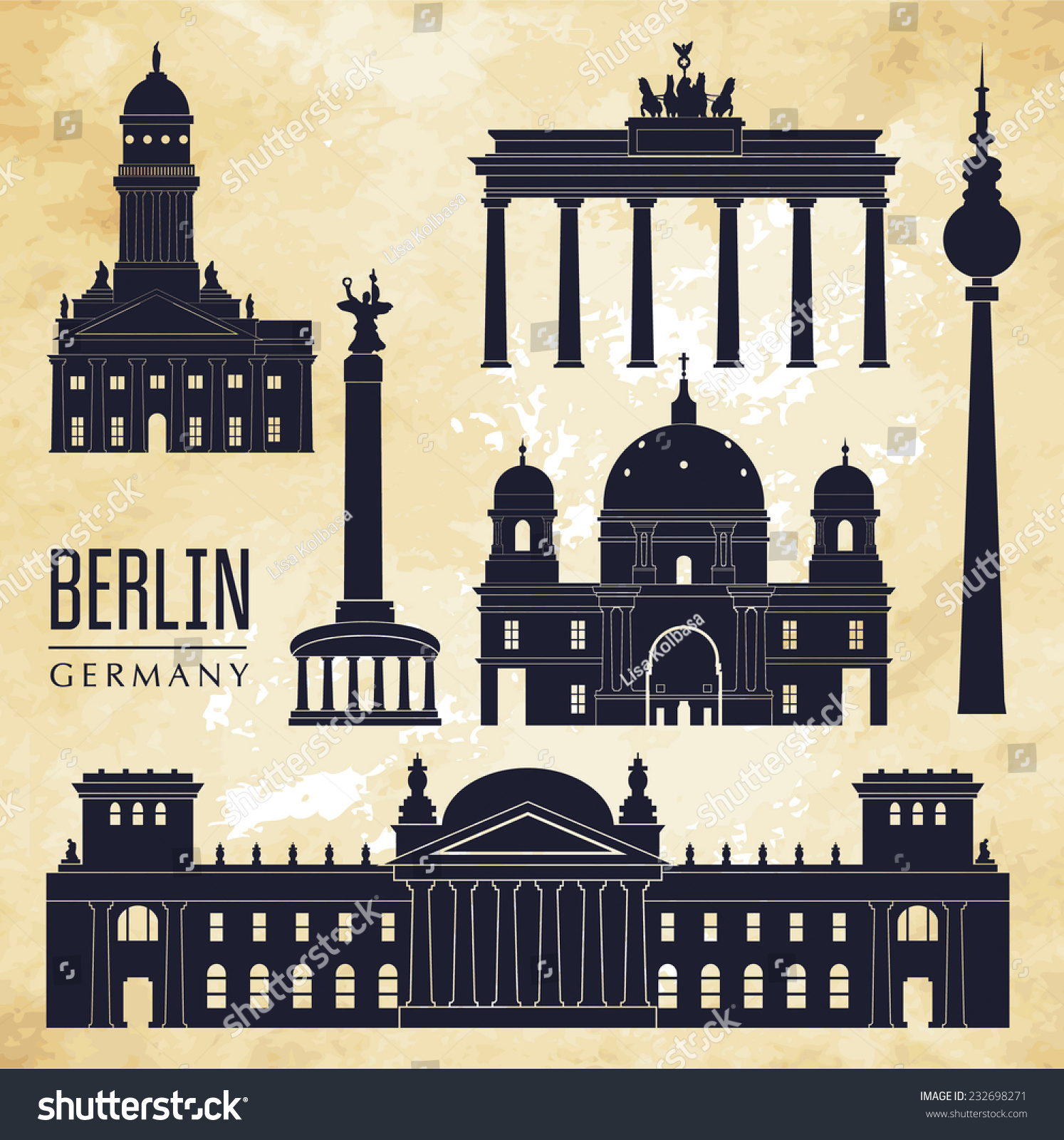 berlin vector illustration 232698271 shutterstock. Black Bedroom Furniture Sets. Home Design Ideas