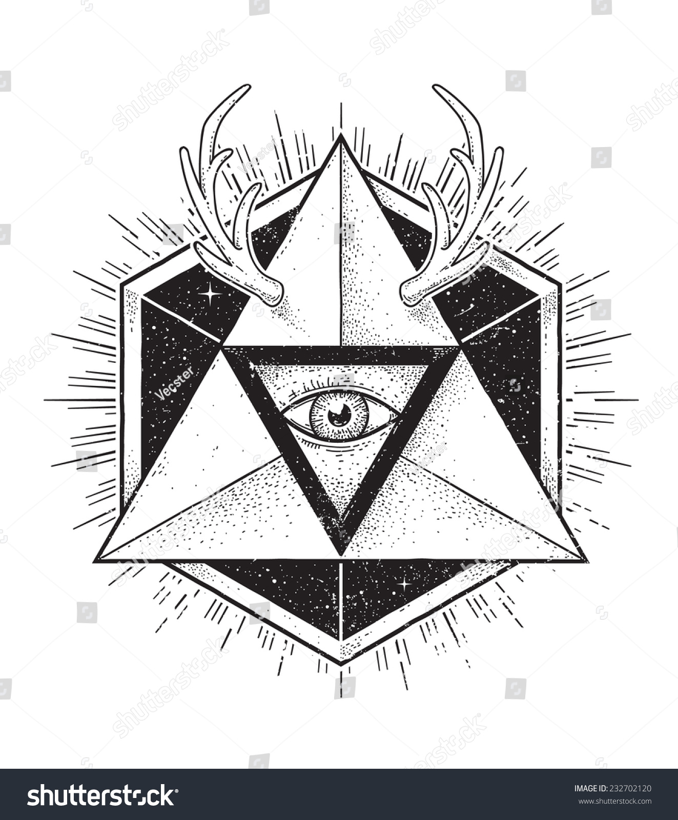 Geometric Abstract Hipster Art. Dot Work Styled Vector ...
