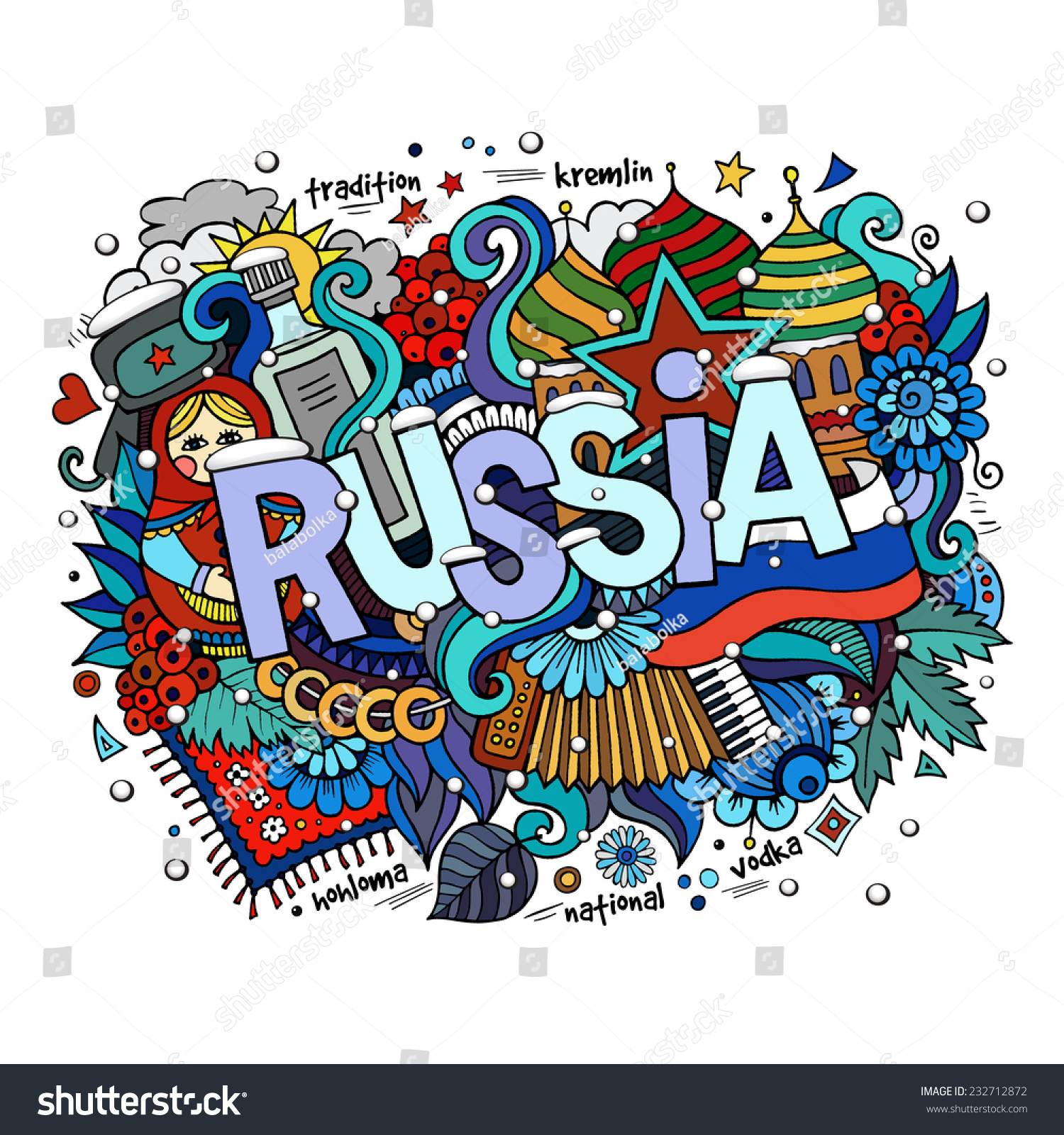 Stock vector music hand lettering and doodles elements - Winter Russia Hand Lettering And Doodles Elements Background Vector Illustration