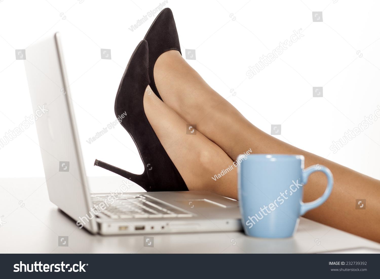 Beautiful Woman Legs Fuchsia High Heels Stock Photo (Edit