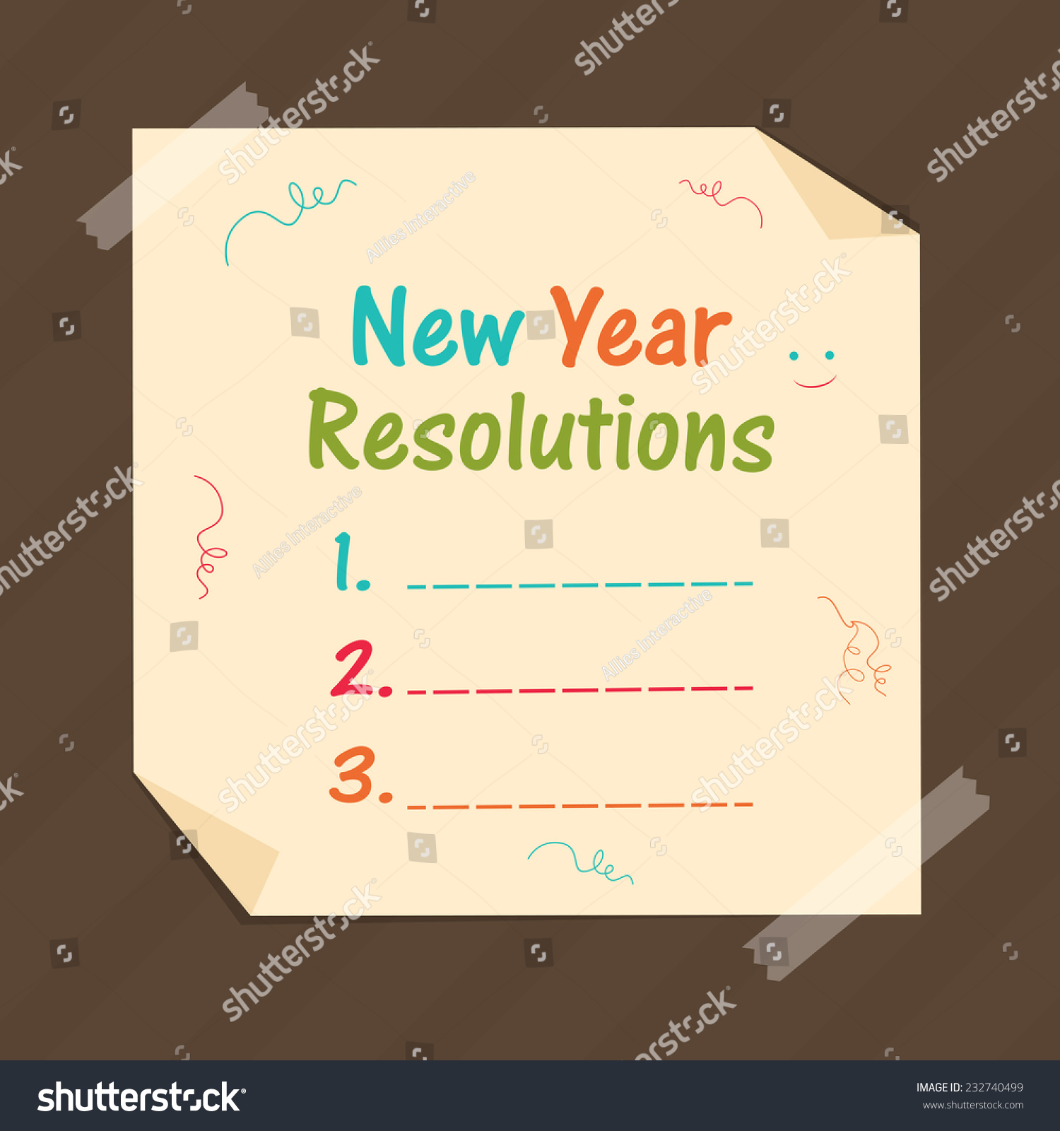 stylish paper with blank list for happy new year resolutions on brown background