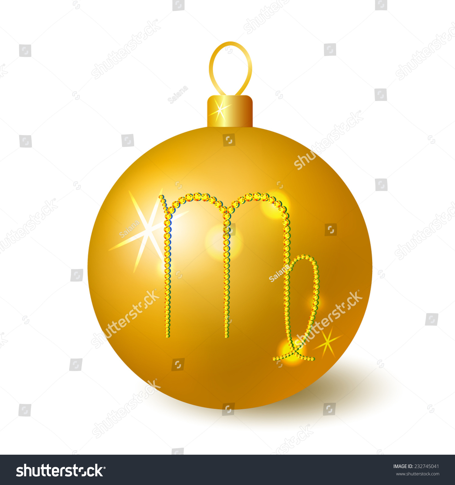 Golden christmas ball zodiac symbol virgo stock vector 232745041 golden christmas ball with zodiac symbol virgo made of crystals buycottarizona Gallery