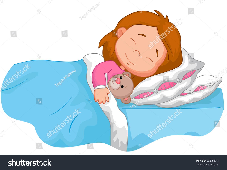 Cartoon Girl Sleeping Stuffed Bear Stock Vector 232753747 ...