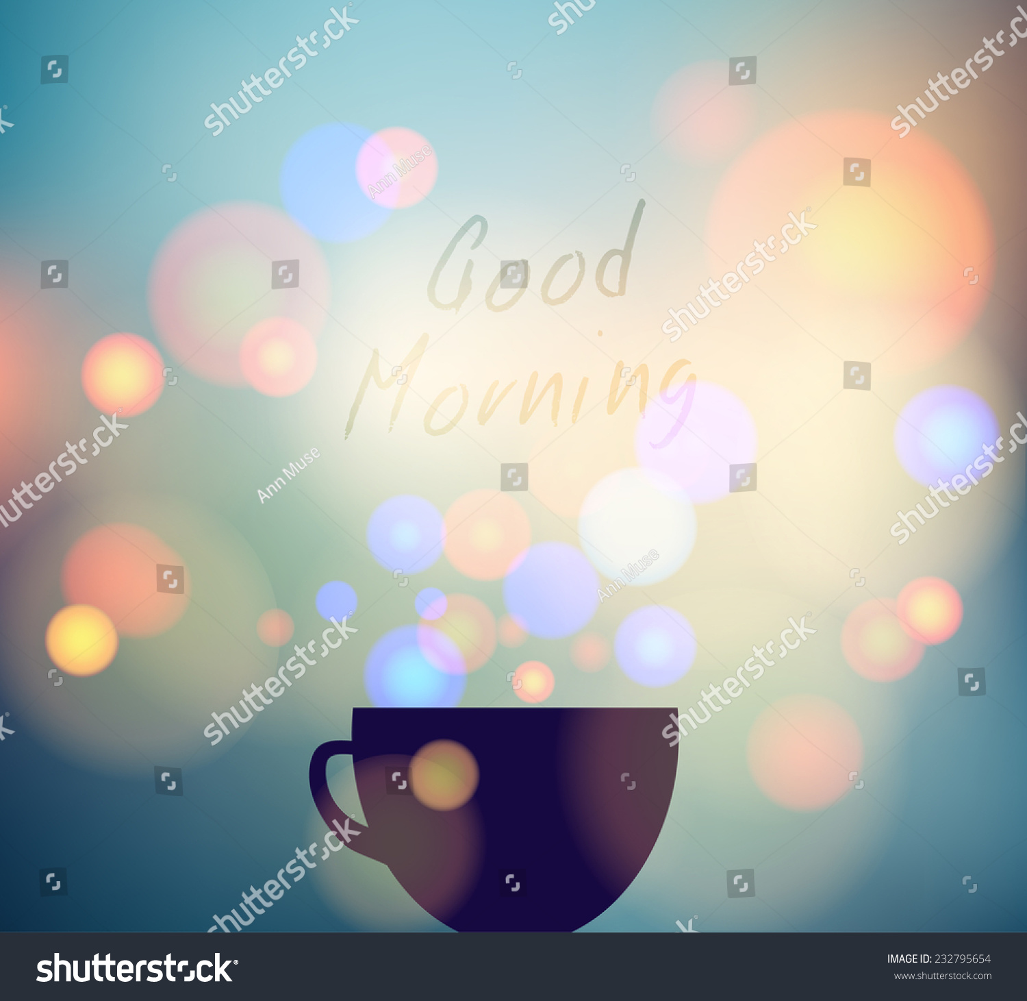 Good Morning Greeting Coffee Cup Tea Stock Vector Royalty Free