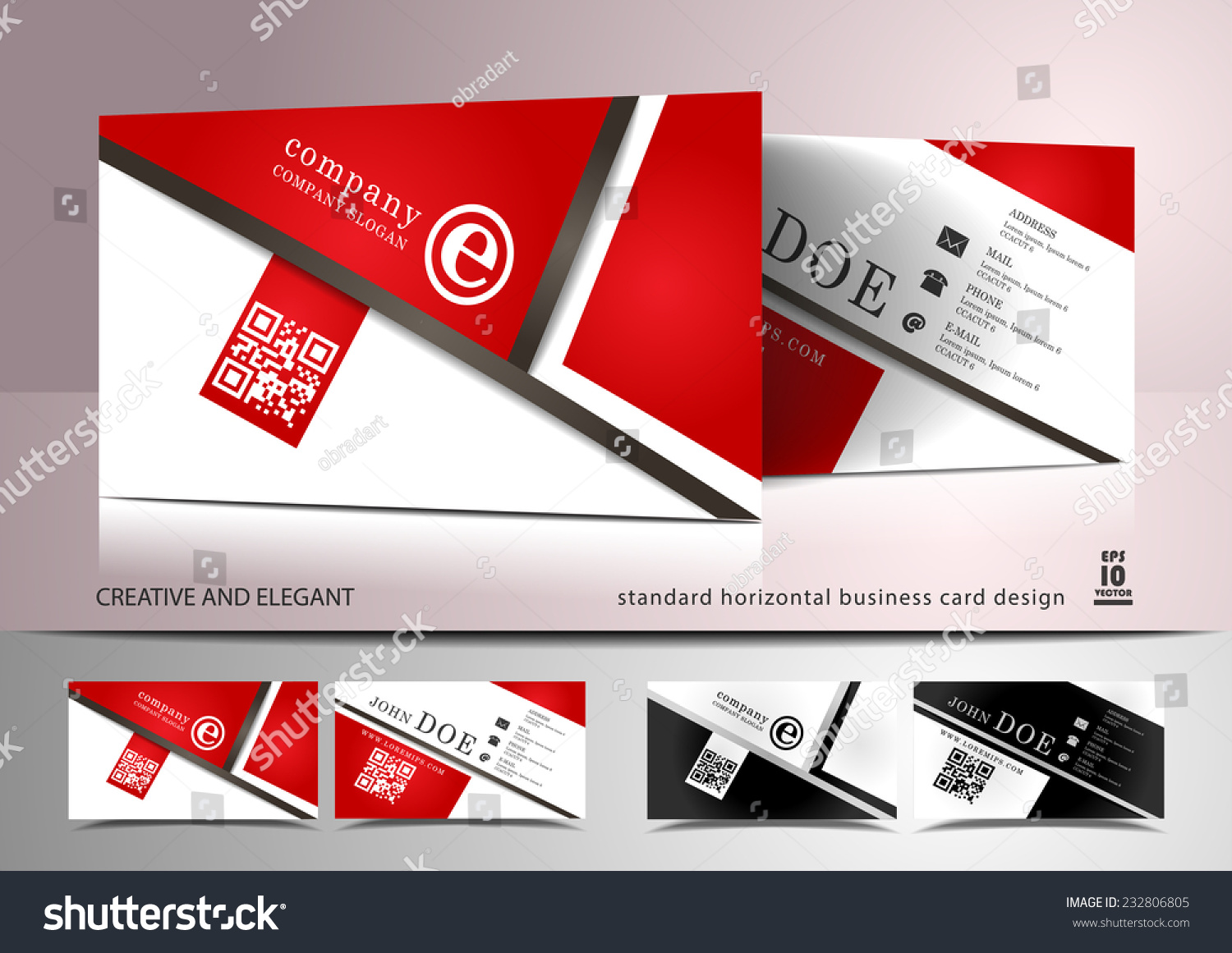 Creative Business Card Design In Red And White