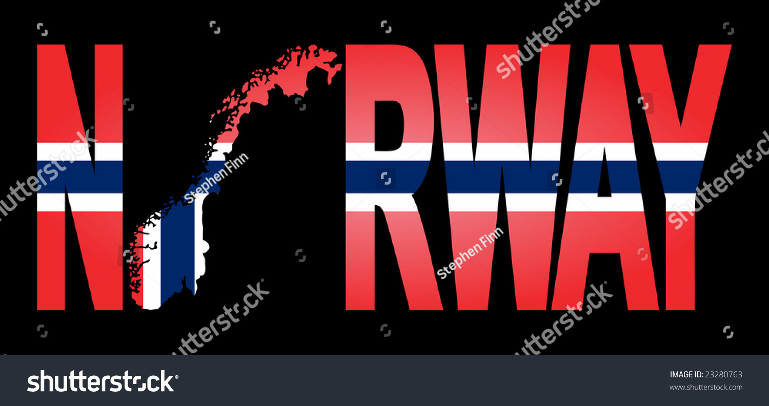 Norway Text Map On Flag Illustration Stock Illustration - Norway map and flag
