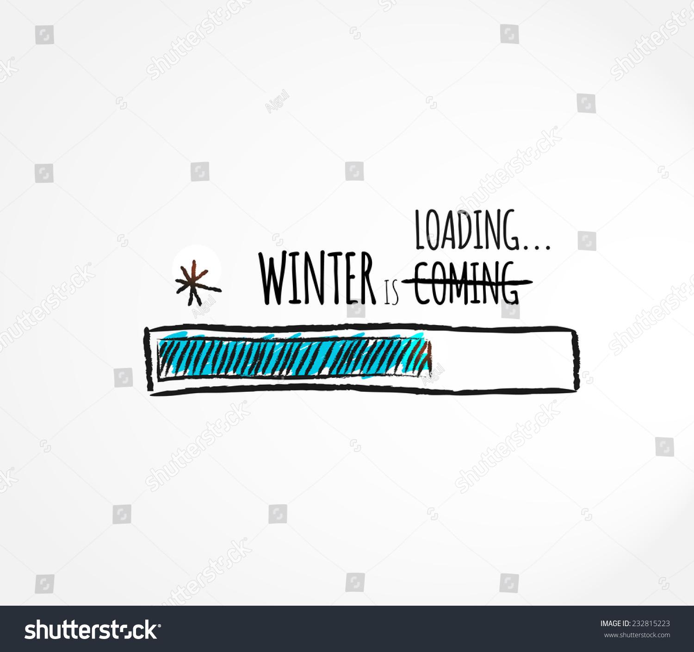 winter loading fun progress bar design vector