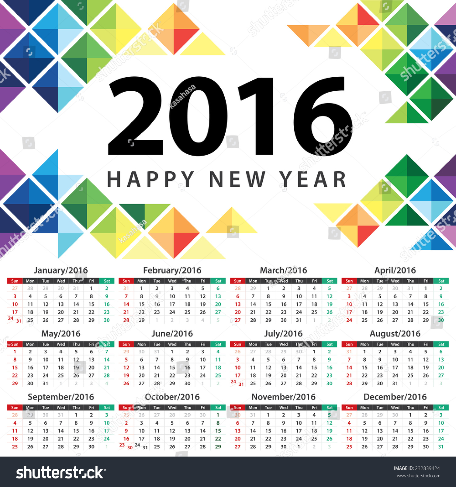 Calendar Illustration Vector : Calendar vector illustration abstract triangle stock