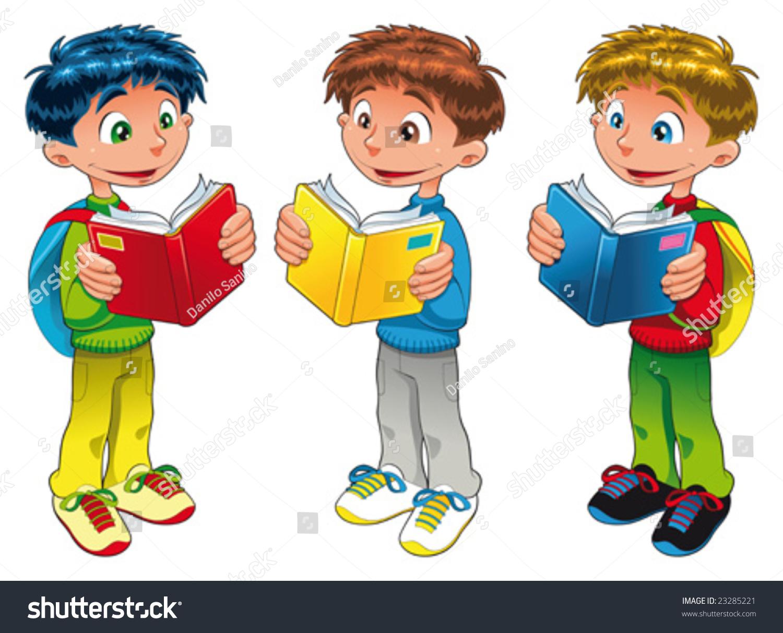 Funny Cartoon Images Of Boys three boys reading funny cartoon vector stock vector