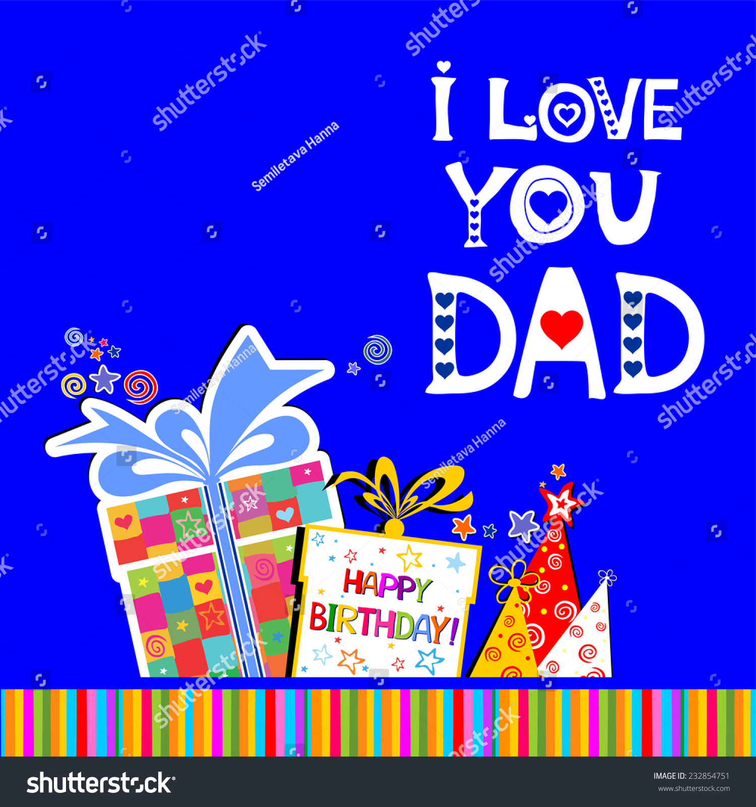 Happy birthday card love you dad stock vector 232854751 shutterstock happy birthday card i love you dad celebration blue background with birthday gift boxes bookmarktalkfo Choice Image