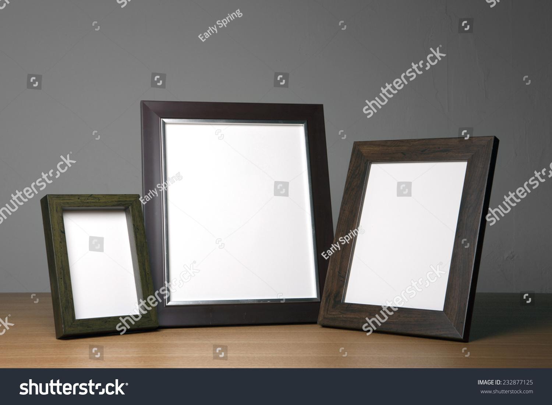 Three Emptyblank Wood Photo Frameswalnut On Stock Photo (Edit Now ...