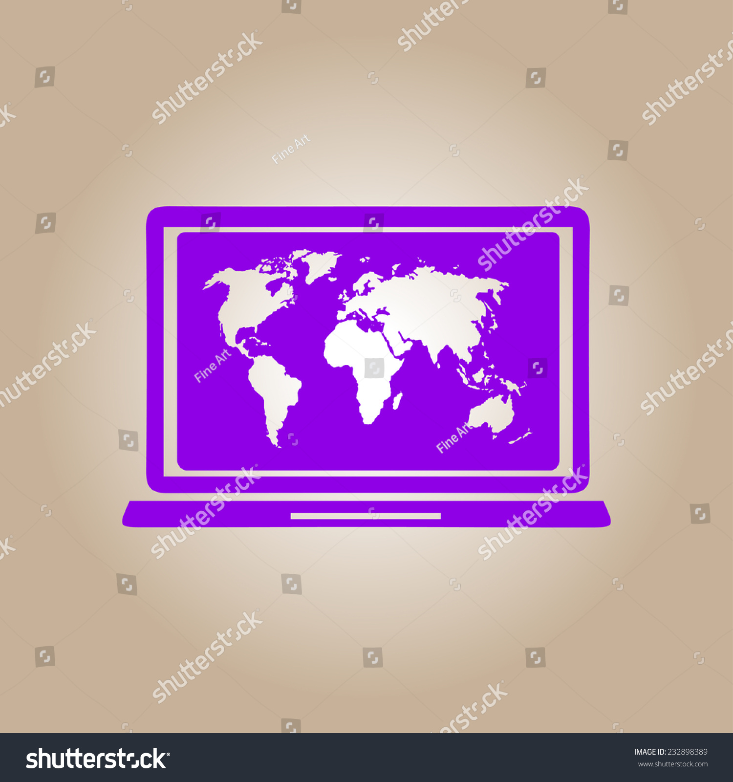 Laptop world map illustration world map stock vector 232898389 laptop and world map illustration world map geography symbol flat design style vector gumiabroncs Images
