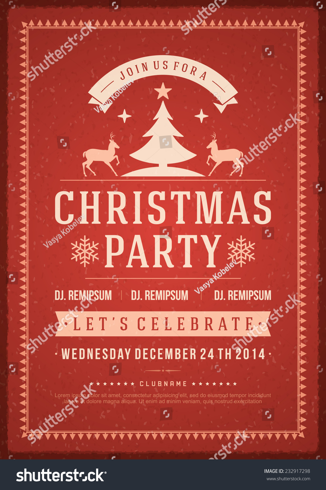 Christmas Party Invitation Retro Typography Ornament Stock Vector ...